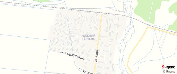 Карта села Нижнего Герзель в Чечне с улицами и номерами домов