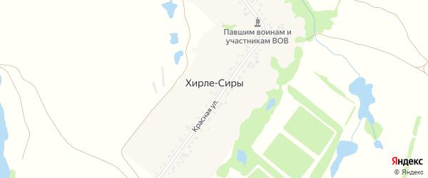 Красная улица на карте деревни Хирле-Сиры с номерами домов