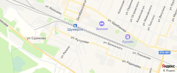 Завокзальный ГСК на карте улицы Белинского с номерами домов