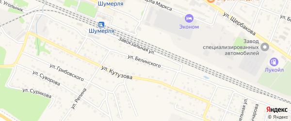Улица Белинского на карте Шумерли с номерами домов