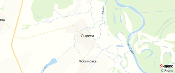 Карта Сыресинского сельского поселения республики Чувашия с районами, улицами и номерами домов