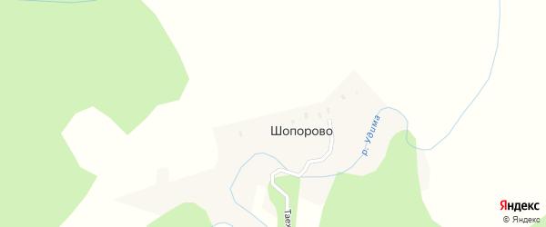 Таежная улица на карте деревни Шопорово с номерами домов