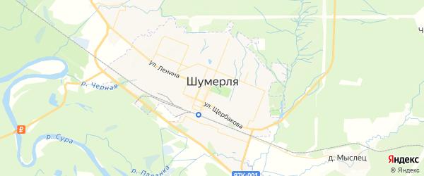 Карта Шумерли с районами, улицами и номерами домов: Шумерля на карте России