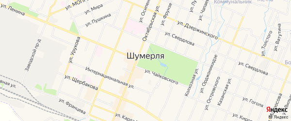 СТ Соснячок-2 на карте Шумерли с номерами домов