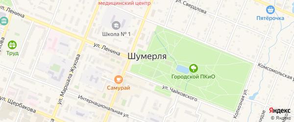 Профсоюзный переулок на карте Шумерли с номерами домов