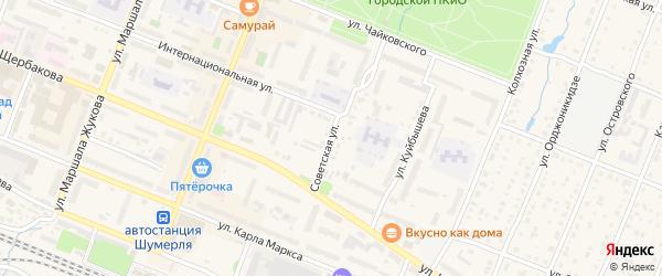 Советская улица на карте Шумерли с номерами домов
