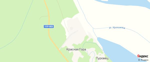 Карта деревни Красной Горы в Архангельской области с улицами и номерами домов