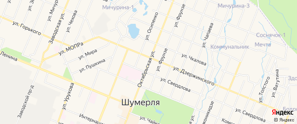 ГСК Автомобилист на карте Октябрьской улицы с номерами домов