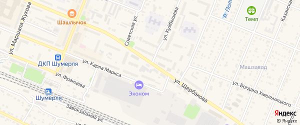 Улица Щербакова на карте Шумерли с номерами домов