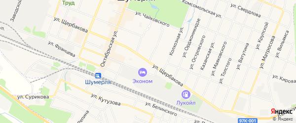 ГСК Руль на карте улицы Щербакова с номерами домов