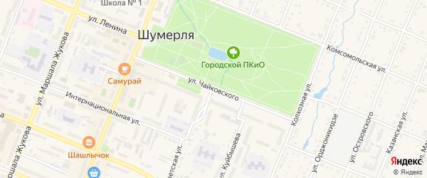 Улица Чайковского на карте Шумерли с номерами домов