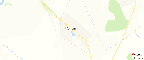 Карта деревни Акташи в Чувашии с улицами и номерами домов