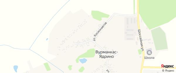 Улица Космонавтов на карте деревни Вурманкас-Ядрино с номерами домов