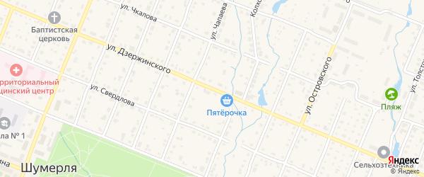 Улица Дзержинского на карте Шумерли с номерами домов
