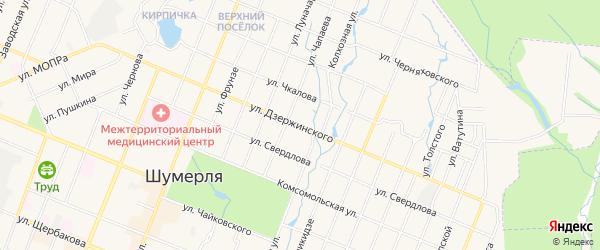 ГСК Маяк-3 на карте улицы Дзержинского с номерами домов