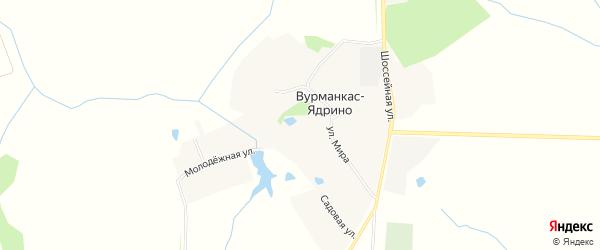 Карта деревни Вурманкас-Ядрино в Чувашии с улицами и номерами домов