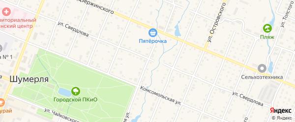 Колхозная улица на карте Шумерли с номерами домов