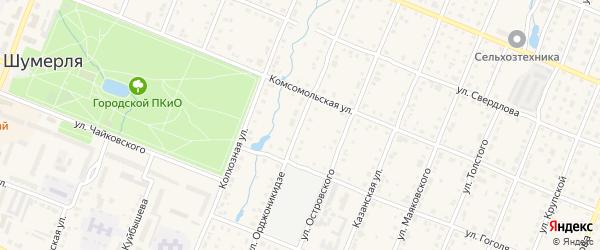 Улица Орджоникидзе на карте Шумерли с номерами домов