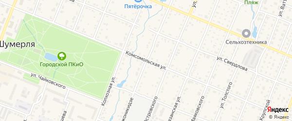 Комсомольская улица на карте Шумерли с номерами домов