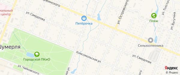 Улица Свердлова на карте Шумерли с номерами домов