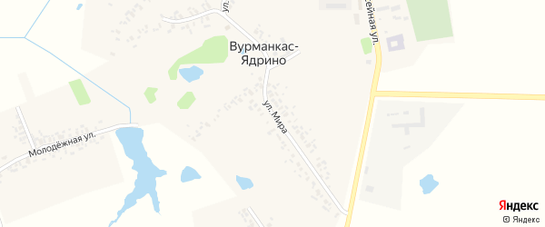 Улица Мира на карте деревни Вурманкас-Ядрино с номерами домов