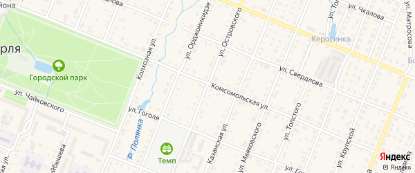 Улица Островского на карте Шумерли с номерами домов