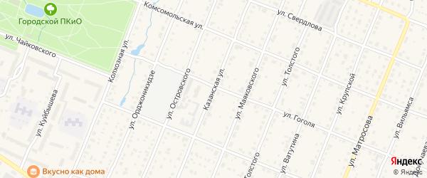 Казанская улица на карте Шумерли с номерами домов