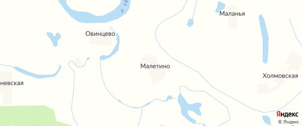 Карта деревни Малетино в Архангельской области с улицами и номерами домов