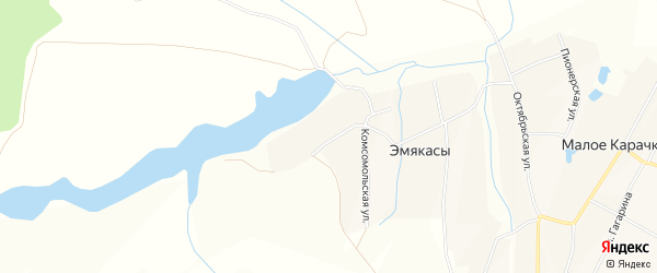 Карта деревни Эмякас в Чувашии с улицами и номерами домов