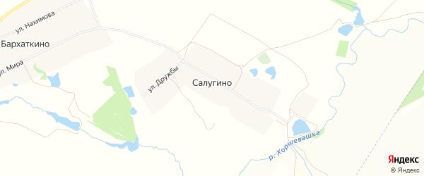 Карта деревни Салугино в Чувашии с улицами и номерами домов