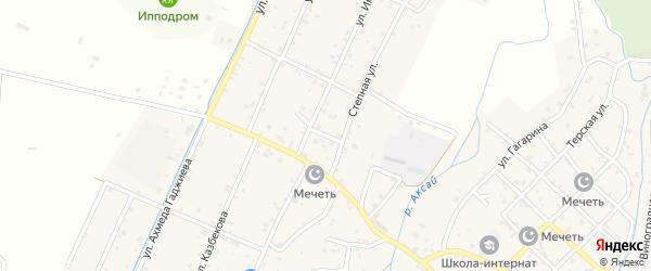 Дорожная улица на карте села Аксая с номерами домов