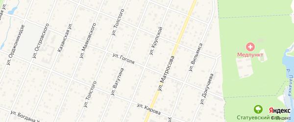 Улица Крупской на карте Шумерли с номерами домов