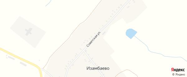 Советская улица на карте деревни Изамбаево с номерами домов