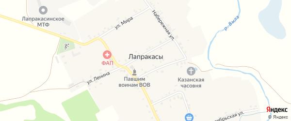 Улица М.Горького на карте деревни Лапракасы с номерами домов