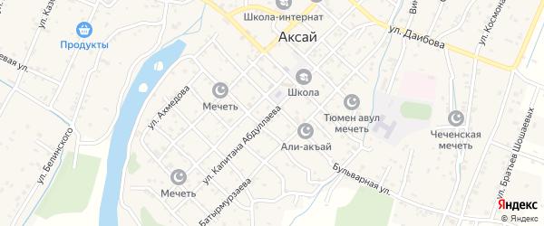 Улица Капитана Абдуллаева на карте села Аксая с номерами домов