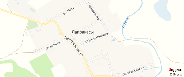 Улица П.Иванова на карте деревни Лапракасы с номерами домов