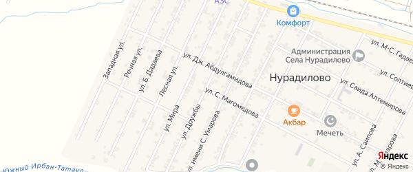 Улица Дружбы на карте села Нурадилово с номерами домов