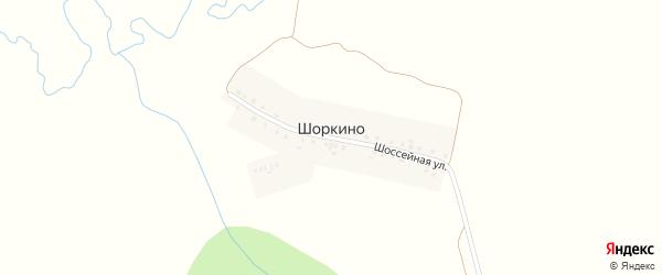 Шоссейная улица на карте деревни Шоркино с номерами домов