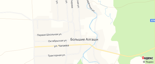 Карта села Большие Алгаши в Чувашии с улицами и номерами домов