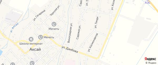 Садовая улица на карте села Аксая с номерами домов