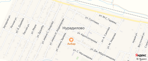 Улица Мира на карте села Нурадилово с номерами домов