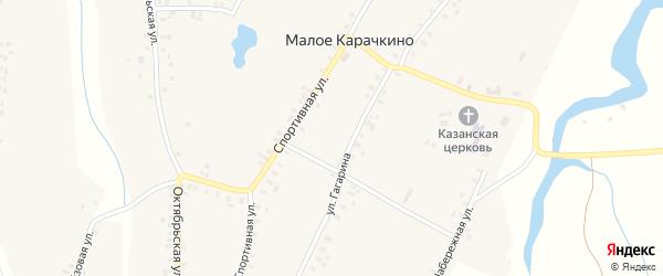 Спортивная улица на карте села Малое Карачкино с номерами домов