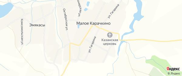 Карта села Малое Карачкино в Чувашии с улицами и номерами домов