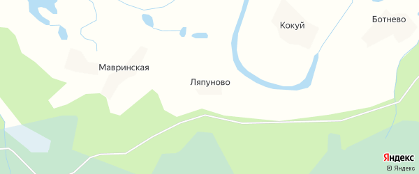 Карта деревни Ляпуново в Архангельской области с улицами и номерами домов