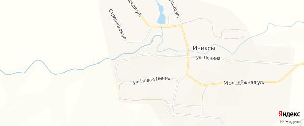 Карта села Ичиксов в Чувашии с улицами и номерами домов