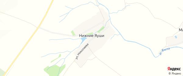 Карта деревни Нижние Яуши в Чувашии с улицами и номерами домов