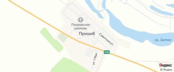 Карта села Пришиба в Астраханской области с улицами и номерами домов