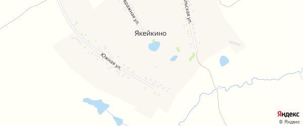 Южная улица на карте деревни Якейкино с номерами домов