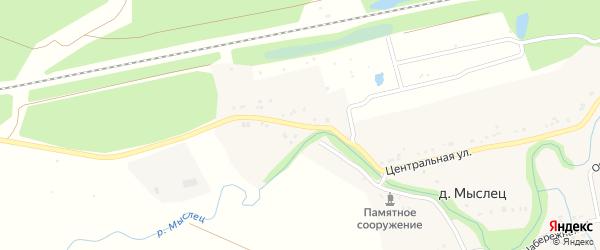 Центральная улица на карте деревни Мыслеца с номерами домов