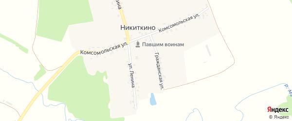 Комсомольская улица на карте деревни Никиткино с номерами домов